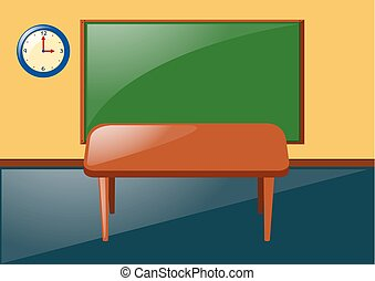 Classroom with blackboard and table
