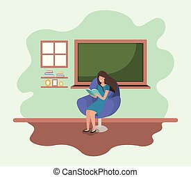 classroom with female teacher reading book in the sofa
