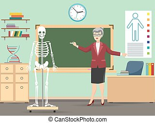 Classroom with human skeleton and teacher