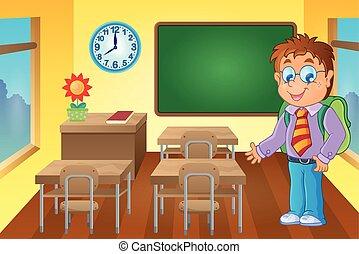 Classroom with schoolboy - eps10 vector illustration.