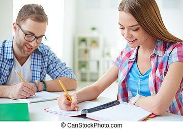 Classwork - Friendly students writing test
