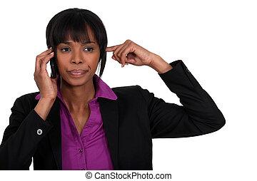 classy black businesswoman making a call