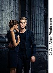 classy couple - Beautiful passionate couple over city ...