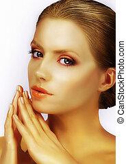 classy, deslumbrante, modelo moda, com, bronzeado, pele