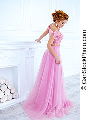 classy evening dress - Elegant young woman in a luxurious ...