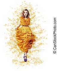 Classy Graceful Shiny Woman in Trendy Modern Yellow Vernal Dress