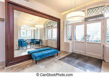 Classy hall - Interior of a hall with mirror and turquoise ...
