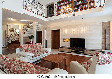 Classy house - elegant living room and a mezzanine