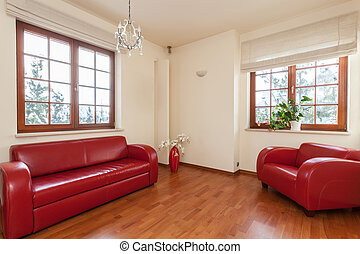 Classy house - red living room - Classy house - living room...