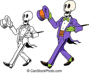 Classy skeleton in a tux for a fine Halloween.  Comes with ...