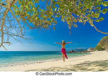 Classy woman at the beach Vacation Holiday Concept, Girl with Windy Flying Cloth