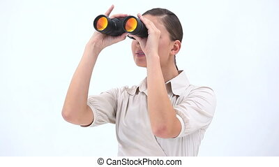 Classy woman holding binoculars - Video of a classy woman...