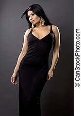 classy woman - pretty brunette woman wearing black dress on...
