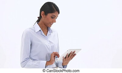 Classy woman using a tablet compute - Video of a classy...