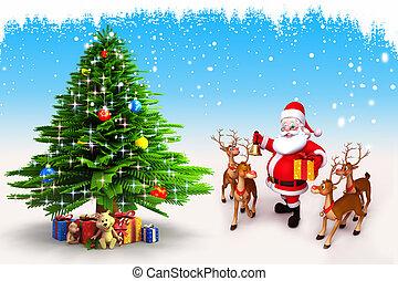 claus, árbol, navidad, santa