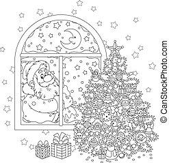 claus, árvore, natal, santa