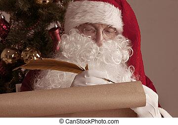 claus, écriture, vieux, papier, santa