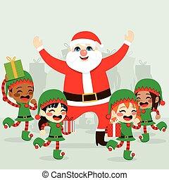 claus, święty, elfy