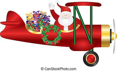 claus, イラスト, 渡すこと, プレゼント, santa, 複葉機