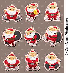claus, ステッカー, 漫画, santa, クリスマス
