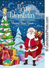 claus, ホリデー, santa, 年, 新しい, クリスマス