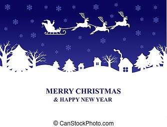 claus, 上に, 飛ぶ, santa, シルエット, 村, トナカイ, sleigh, 夜