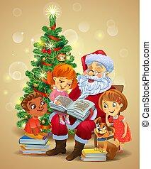 claus, 子供, 本, santa, 読書