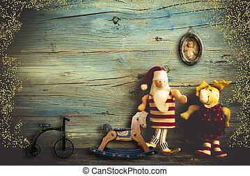 claus, 挨拶, クリスマス, santa, card.