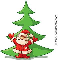 claus, 木, クリスマス, santa, ans