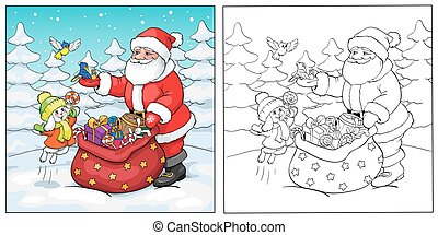 claus, 着色, santa, book., うさぎ, gifts., 鳥