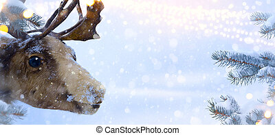 claus, 芸術, santa, クリスマスカード, 鹿, 挨拶