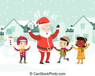claus, 遊び, multiethnic, santa, 子供