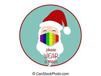 claus, 頭, ラベル, デザイン, 青い背景, mask., ウエア, 陽気, 外科, 概念, クリスマス, クリスマス, ベクトル, coronavirus, 保護, 隔離された, 誇り, covid-19, 虹, lgbt, マスク, santa, ロゴ, カラフルである