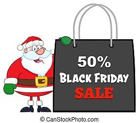 claus, achats, projection, vendredi, caractère, sac, noir, santa, dessin animé