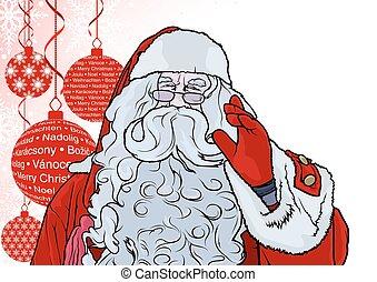 claus, achtergrond, kerstman, baubles