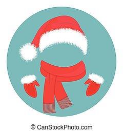 claus, année, accessories., santa, nouveau, chapeau, mitaines, écharpe