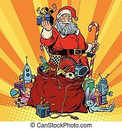 claus, année, sac, santa, gifts., nouveau, noël