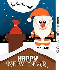 claus, ano, novo, cartão, feliz