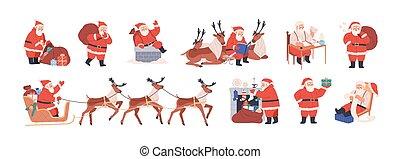 claus, apartamento, jogo, fundo branco, presentes, feliz, ilustração, sleigh, montando, meias, saco, carregar, natal, pôr, vetorial, xmas, isolado, personagem, rena, escrita, letters., santa, presentes