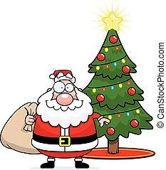 claus, arbre, dessin animé, santa, noël