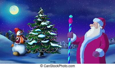 claus, arbre, veille, lumières, santa, vacances, noël