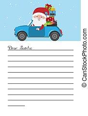 claus, automobile, regali, lettera, santa, portante, claus.