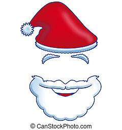 claus, barbe, chapeau, santa