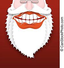 claus., beard., széles, ábra, nagyapa, ajkak, nagy, vidám, szent, év, új, fehér, vidám, smile., karácsony, teeth., piros