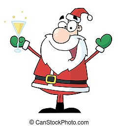 claus, bere, champagne, santa