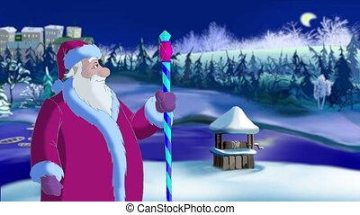 claus, blasen, schnee, santa