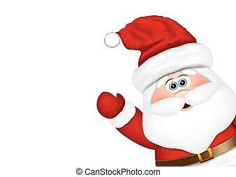 claus, blik, kerstman, bovenkant