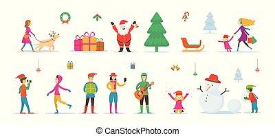 claus, boneco neve, caráteres, santa, pessoas