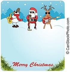 claus, boneco neve, parabéns, jogos, card., guitar., veado, escolha, saxofone, santa, natal