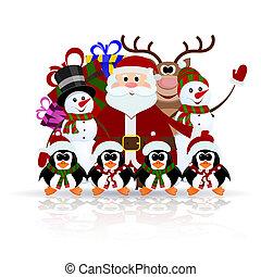 claus, boneco neve, -, saudação, gelo, rena, pingüins, santa, cartão natal